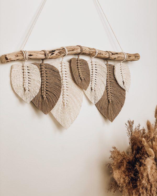 Makramee Wandbehang mit Blättern - Makramee kaufen - Makramee Shop - Lady Handgemacht by Tamara Wagner